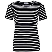 Elma & Me Women's Striped Maternity Nursing top, Short Sleeve