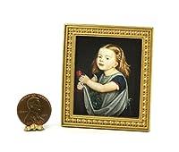 ドールハウスミニチュア1: 12ゴールドフレーム印刷of a young girl holding aローズ