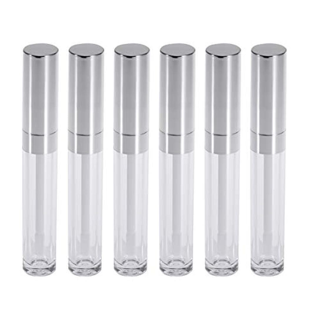 意識入るスピンFrcolor リップグロスチューブ ミニ リップ容器 6ml リップグロスバーム クリア 詰め替え 空ボトル 収納 旅行用品 6本セット(シルバー)