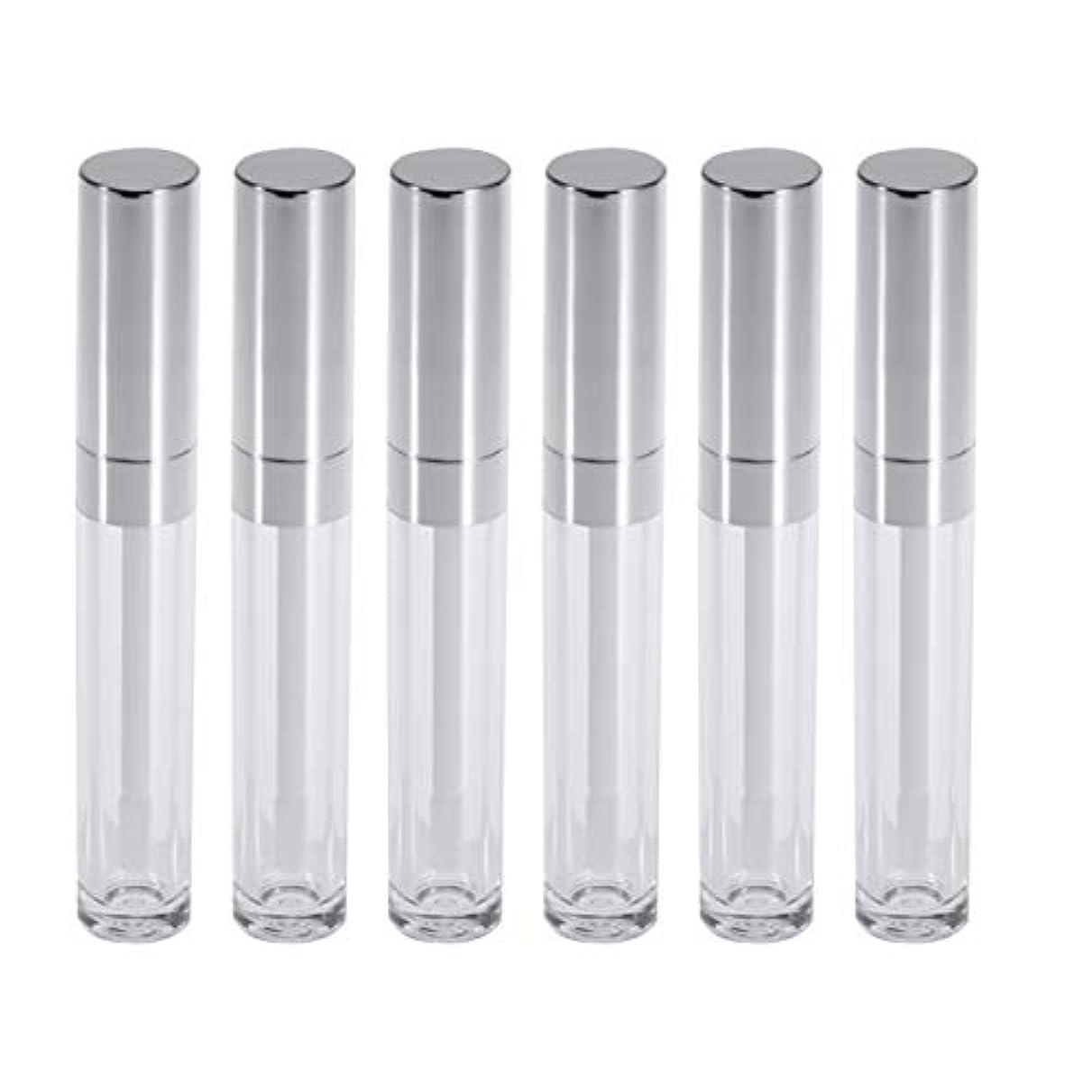 感謝している鎮痛剤観察するFrcolor リップグロスチューブ ミニ リップ容器 6ml リップグロスバーム クリア 詰め替え 空ボトル 収納 旅行用品 6本セット(シルバー)