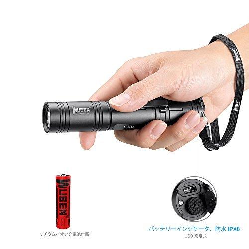 懐中電灯 LED フラッシュライト 超高輝度 USB充電式 5モード 完全防水 1200ルーメン ハンディライト CREE XPL2 LED 軍用 強力 停電 防災対策, 充電池 18650 付き【五年保証】高品質