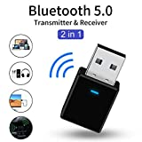 【2019 最新昇級版】 Bluetooth 5.0 USB アダプタ 超小型 無線ブルートゥース 省エネ USB車載無線アダプター TVコンピュータに付きBluetooth 5.0 受信機 送信機 2 in 1 usb 変換アダプタ