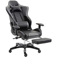 MCTECH ゲーミングチェア オフィスチェア ゲームチェア レーサーチェア ワークチェア キャスター付き椅子 レーシングスポーツシート ヘッドレスト 足置き付き 事務椅子 グレー