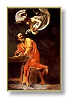 "Alonlineアートのインスピレーション–Saint Matthew Caravaggio Framedのコットンキャンバスホーム装飾壁アート博物館品質フレームをハングアップする準備フレーム 18""x29"" - 46x72cm (Framed Cotton Canvas) VF-CVG105-FCC0F19-1P1A-18-29"
