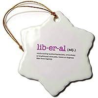 3dローズEvaDane–引用–Liberal adj.ピンク–Ornaments 3 inch Snowflake Porcelain Ornament ピンク orn_254676_1