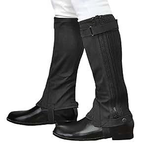 乗馬用ハーフチャップス 黒ブラック スエード風 合皮 ふくらはぎ伸縮 Klaus 軽量ライトタイプKA (XS)