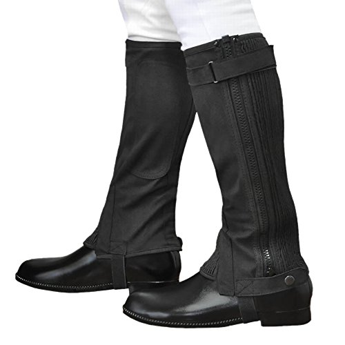 乗馬用ハーフチャップス 黒ブラック スエード風 合皮 ふくらはぎ伸縮 Klaus 軽量ライトタイプKA