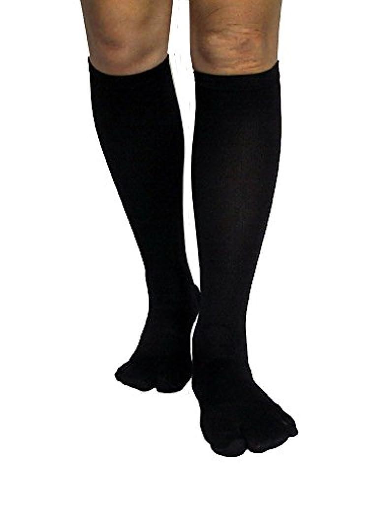 局有用歩き回るカサハラ式歩行矯正ロングテーピング靴下(3本指タイプ)「黒24-26」