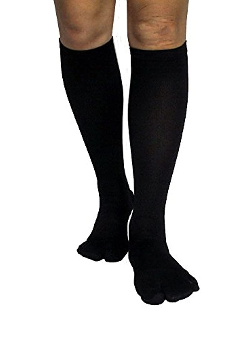 聡明添加剤クライマックスカサハラ式歩行矯正ロングテーピング靴下(3本指タイプ)「黒22-24」