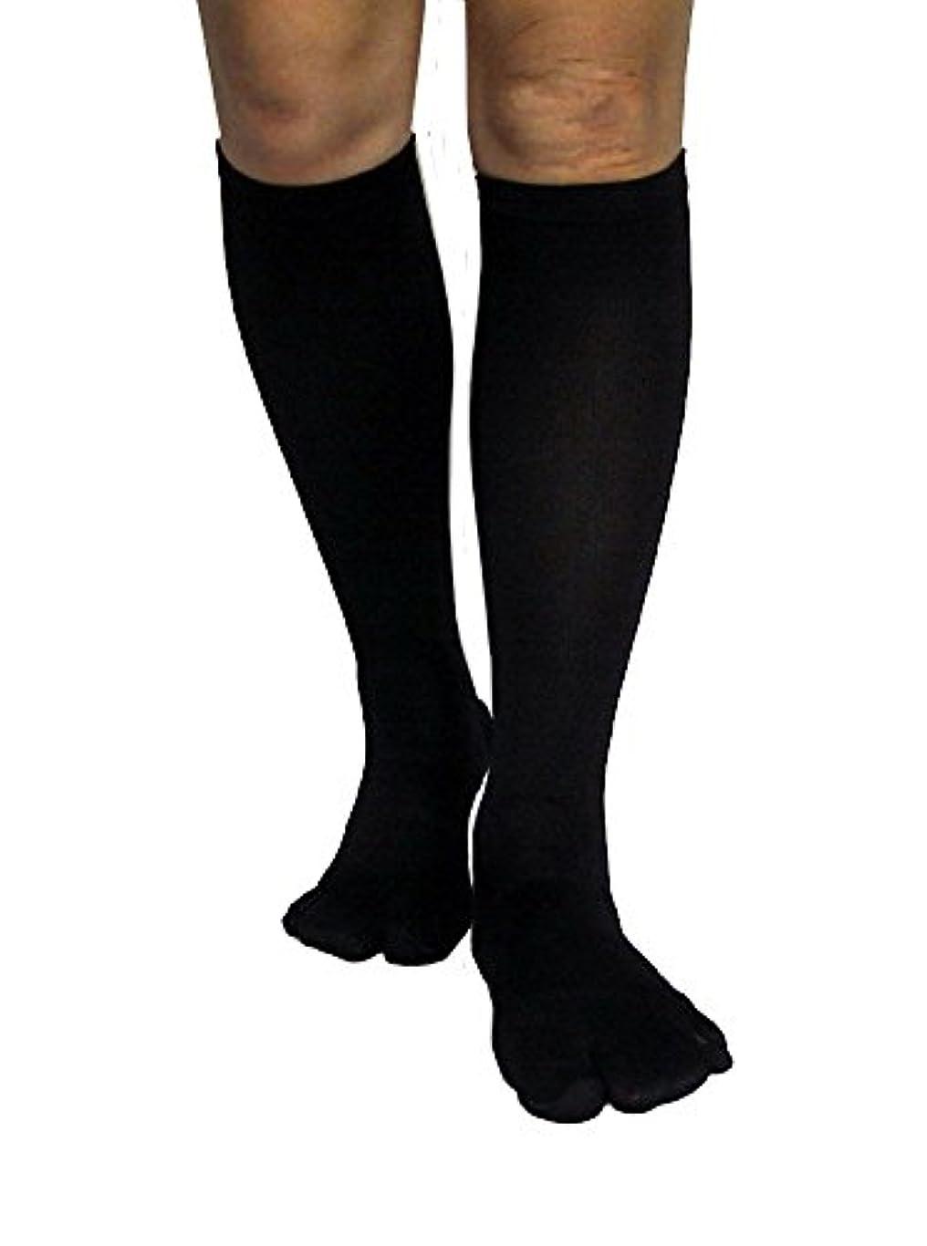 おじさんアンタゴニスト振り向くカサハラ式歩行矯正ロングテーピング靴下(3本指タイプ)「黒24-26」