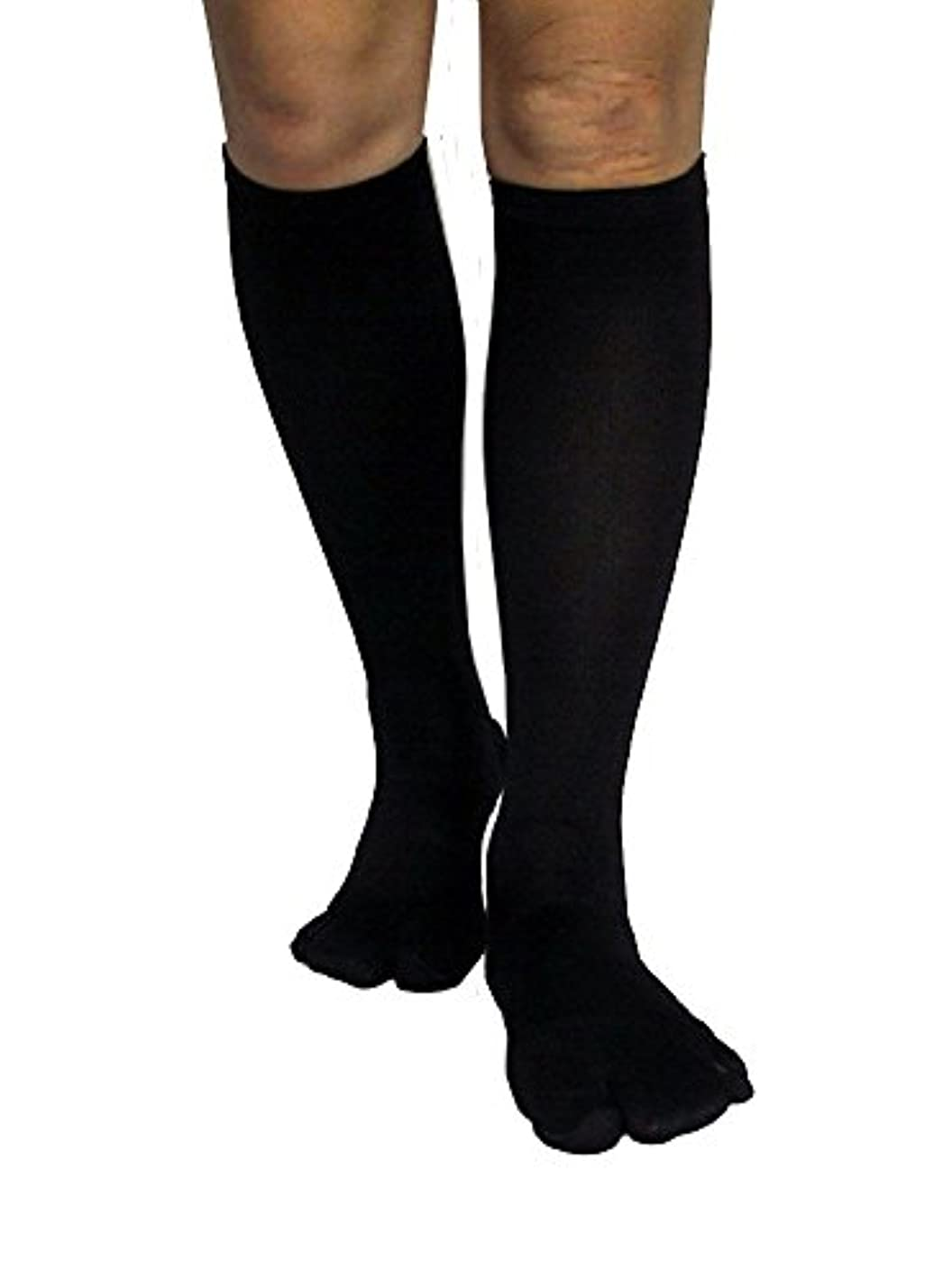 田舎者王朝粘り強いカサハラ式歩行矯正ロングテーピング靴下(3本指タイプ)「黒24-26」