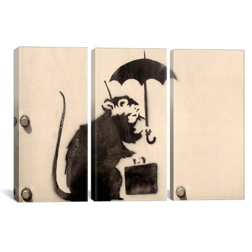 iCanvasART 2182Rat Banksyによってステンシル3ピースキャンバス印刷、60by 40-inch、0.75-inch Deep