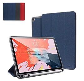 ペンホルダー内蔵 2019 新型 iPad mini5 専用 ケース 薄型 アイパッド ミニ5 mini 5 第5世代 スマート カバー 2019春モデル 7.9 インチ レザーケース (iPadmini5, ブルー)