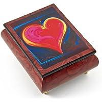 Inspiring red-wine Ercolano Painted音楽ボックスというタイトル」ハートフェルトIII