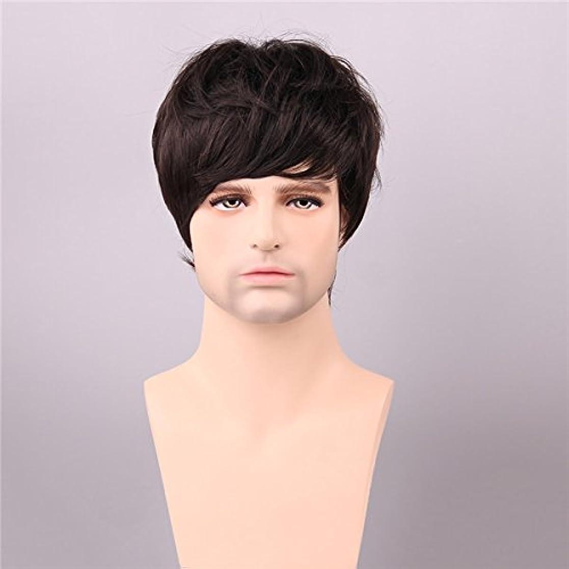 YZUEYT ミディアムブラウン人間の毛のウィッグショートモノトップ男性ヴァージンレミーキャップレスサイドバング YZUEYT (Size : One size)