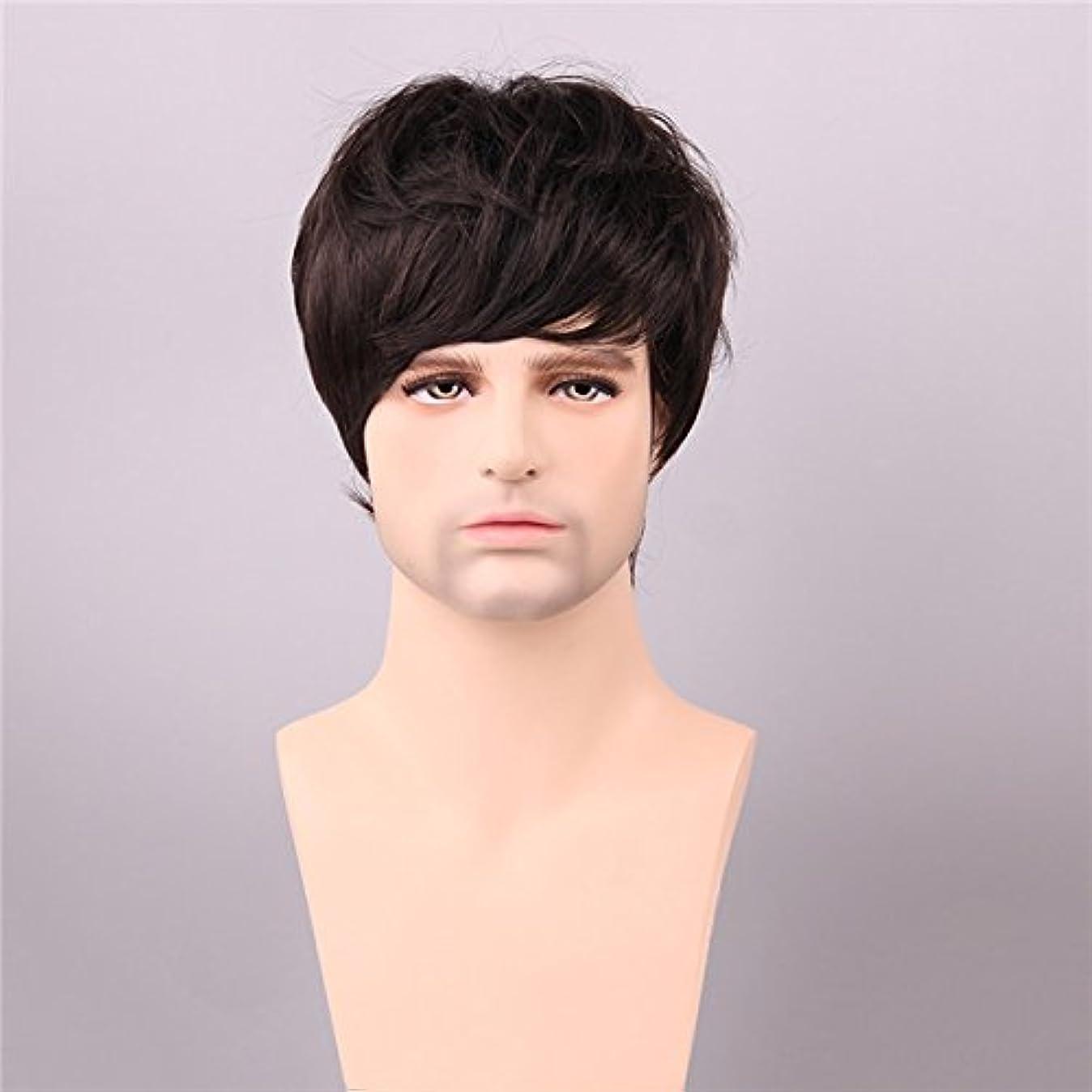 未払い怒り脈拍YZUEYT ミディアムブラウン人間の毛のウィッグショートモノトップ男性ヴァージンレミーキャップレスサイドバング YZUEYT (Size : One size)