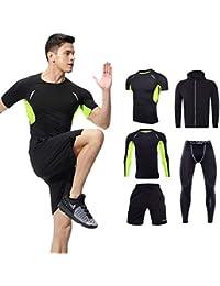 (ゲフィエン)Genfien コンプレッションウェア セット メンズ スポーツウェア 長袖シャツ 半袖シャツ ショートパンツ タイツ パーカー トレーニング ランニング 吸汗速乾 メッシュ 反射テープ付き 5セット