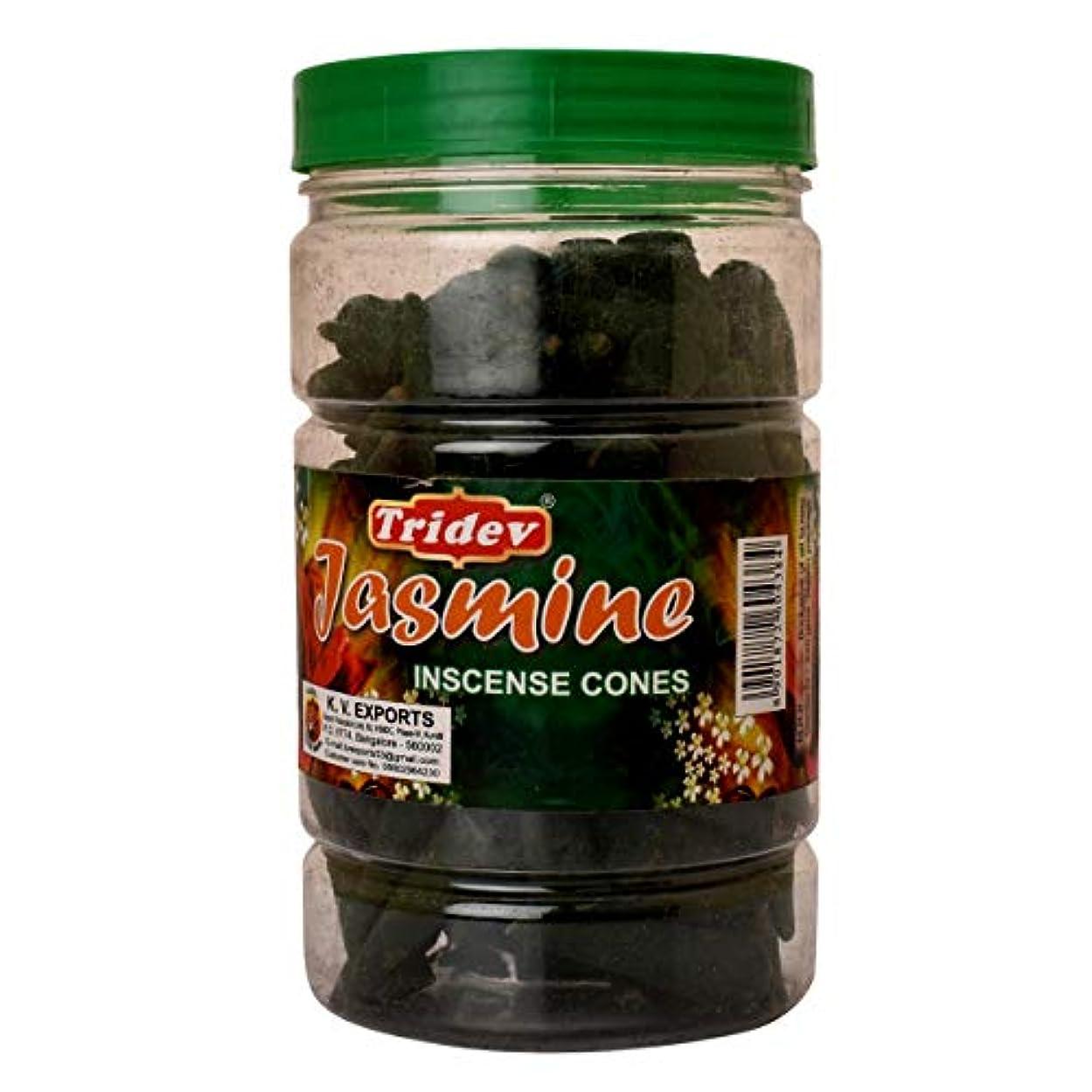 トリプル幸運なことに未就学Tridev Jasmine Incense Cones Jar 225グラムパック