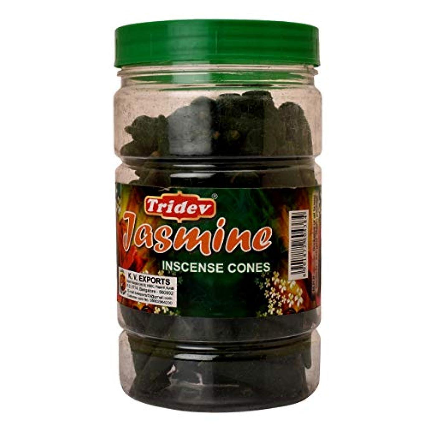 物理的に見分ける堂々たるTridev Jasmine Incense Cones Jar 225グラムパック