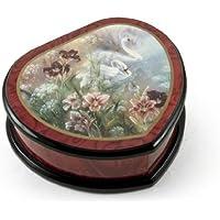 エレガントなハートシェイプPainted Ercolano音楽ジュエリーボックスTitled – 白鳥とDaylilies by Lena Liu 243. Madame Butterfly (Un Bel Di Vedremo) レッド MBEG0734RD-18NOTE
