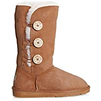 UGG Boots Tall Button Pull On Premium Australian Sheepskin Womens Mens Shoes Chestnut