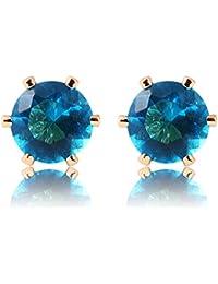[RIVA Jewelry]アクアマリン[CZ]ラウンドカット 18K 金張りスタッドピアスシンプル モダン 優雅 [ジュエリーポーチ無料]【ピアス】