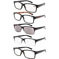 Eyekepper 5 Piece Spring Hinges Vintage Reading Glasses Men Includes Sunshine Readers +2.00