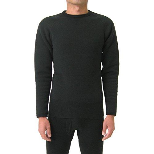 もちはだ もちジョイ 丸首長袖シャツ 超極厚地 男性用 Mサイズ ブラック