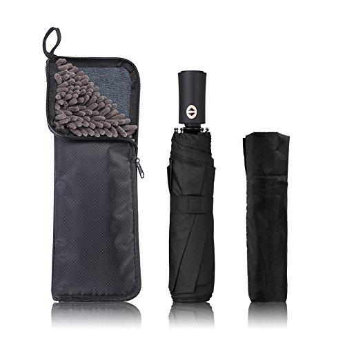 KUMFI 2面超吸水 傘カバー付き 折りたたみ傘 自動開閉 大きい 軽量 ワンタッチ 耐風撥水 晴雨兼用 メンズ レディース 折り畳み傘 UVカット 梅雨対策 携帯便利 (ブラック)