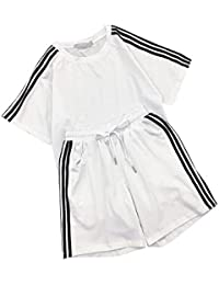 (ツリカラーブイブイ) Tricolor-VIVI半袖 パンツ2点セット シャツ+ ショートパンツ 運動ズボン ヨガウェア 3本ラインズボン ミディアム 大人 ペアルック