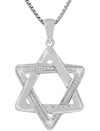 925 Sterling Silver Classic Jewish Star of David Pendant Necklace