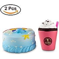 BeYumi スクイーズ イルカ ケーキ クリームカップ 2個セット カラフル レインボー 虹 可愛い 低反発 食品サンプル 子ども おもちゃ ままごと 柔らかい ふわふわ 誕生日プレゼント ギフト 知育 大人気