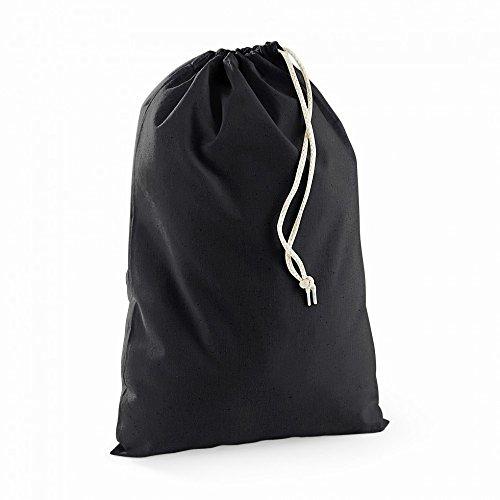 (ウエストフォード・ミル) Westford Mill 綿100% 巾着袋 スクールバッグ トラベルバッグ コットンポーチ (XL) (ブラック)
