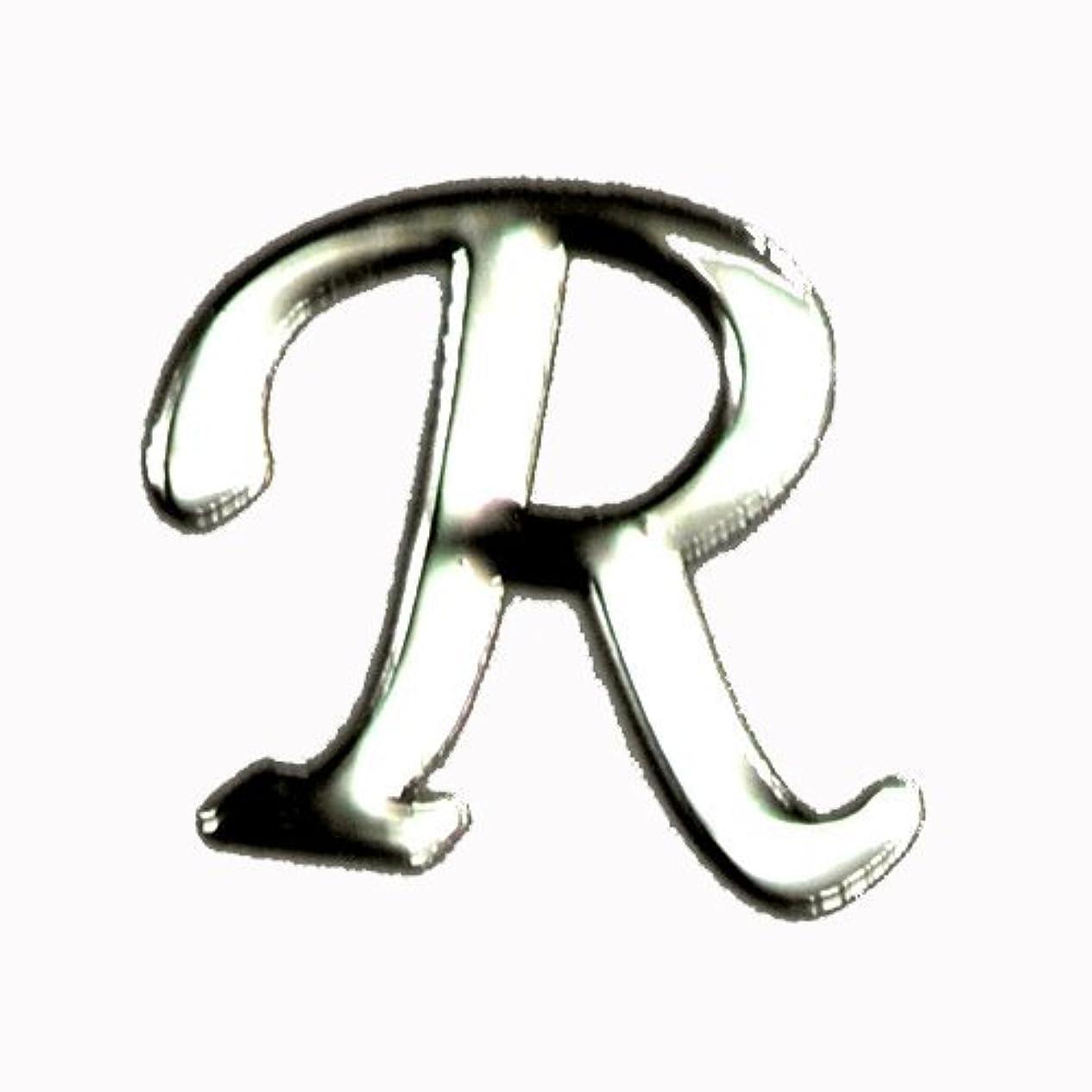 テレマコス保存する引き金アルファベット 薄型メタルパーツ 20枚 /片面仕上げ イニシャルパーツ SILVER (R / 5x6mm)