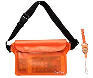 Danyee® 安心交換保証付 防水ポーチ(全6色) 3重チャック PVC素材 (オレンジ) 海水浴 プール 釣り バイク ウエストバッグ 防水 携帯 (ZBAG-PVC-Orange)