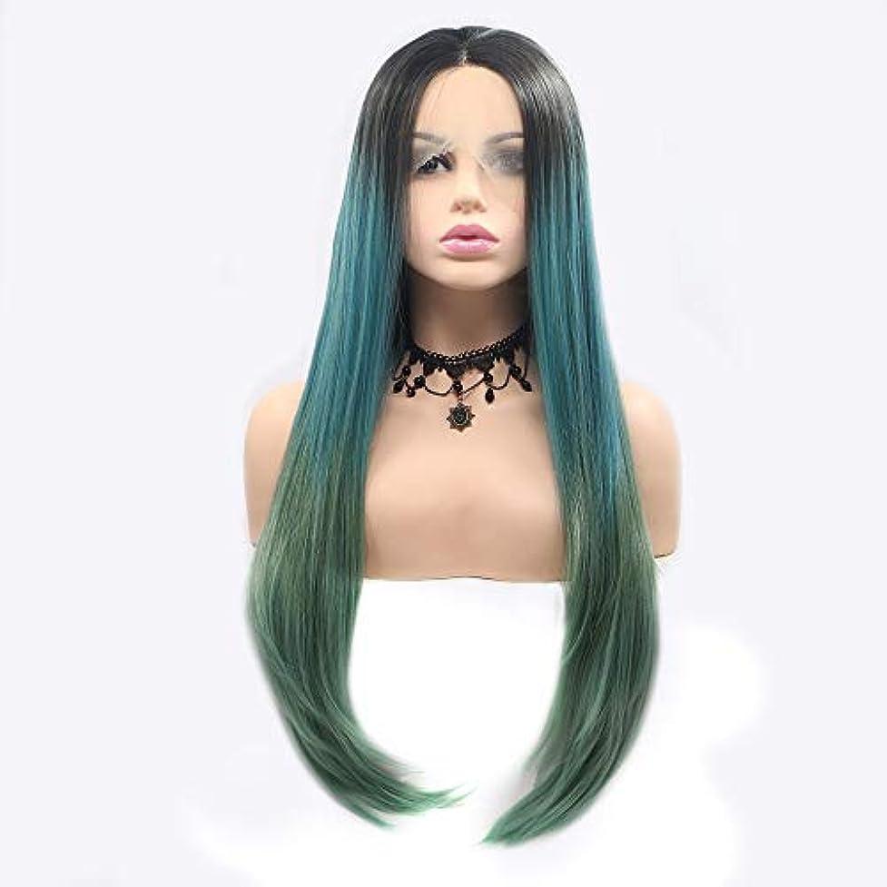 アラート見通し困ったZXF 黒と緑の長い髪の巻き毛のかつらレディースハンドメイドレースヨーロッパとアメリカのかつらセットかつらセット 美しい