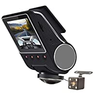 1080P HD 車載カメラ 360° WIFI ダッシュカム 赤外線ナイトビジョン&リバースカメラ付き フロント&リア デュアルダッシュカムレコーダー オーディオ&Gセンサー&モーション検出 デイ&ナイトパーキング監視&衝突ロック付き