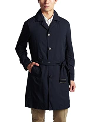 Washed Polyester Nylon Balmacaan Coat 1125-133-4510: Navy