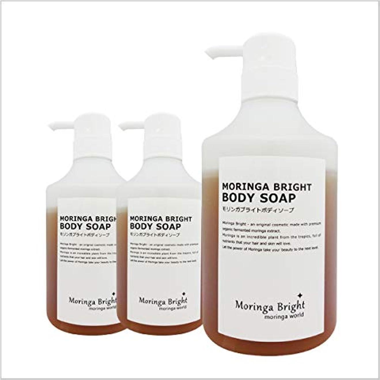 つぶす然とした上へモリンガブライトボディソープ(450ml x 3本)洗顔もできる無添加ボディソープ オーガニックモリンガを乳酸発酵させた保湿美容成分「発酵モリンガエキス」配合」
