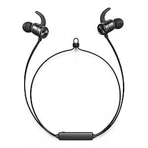 TaoTronics Bluetooth イヤホン 8時間再生 IPX6防水&汗耐性 快適フィット OTG充電可能 マグネット付き マイク内蔵 高音質 CNC加工 ワイヤレスイヤホン TT-BH027 (ブラック)