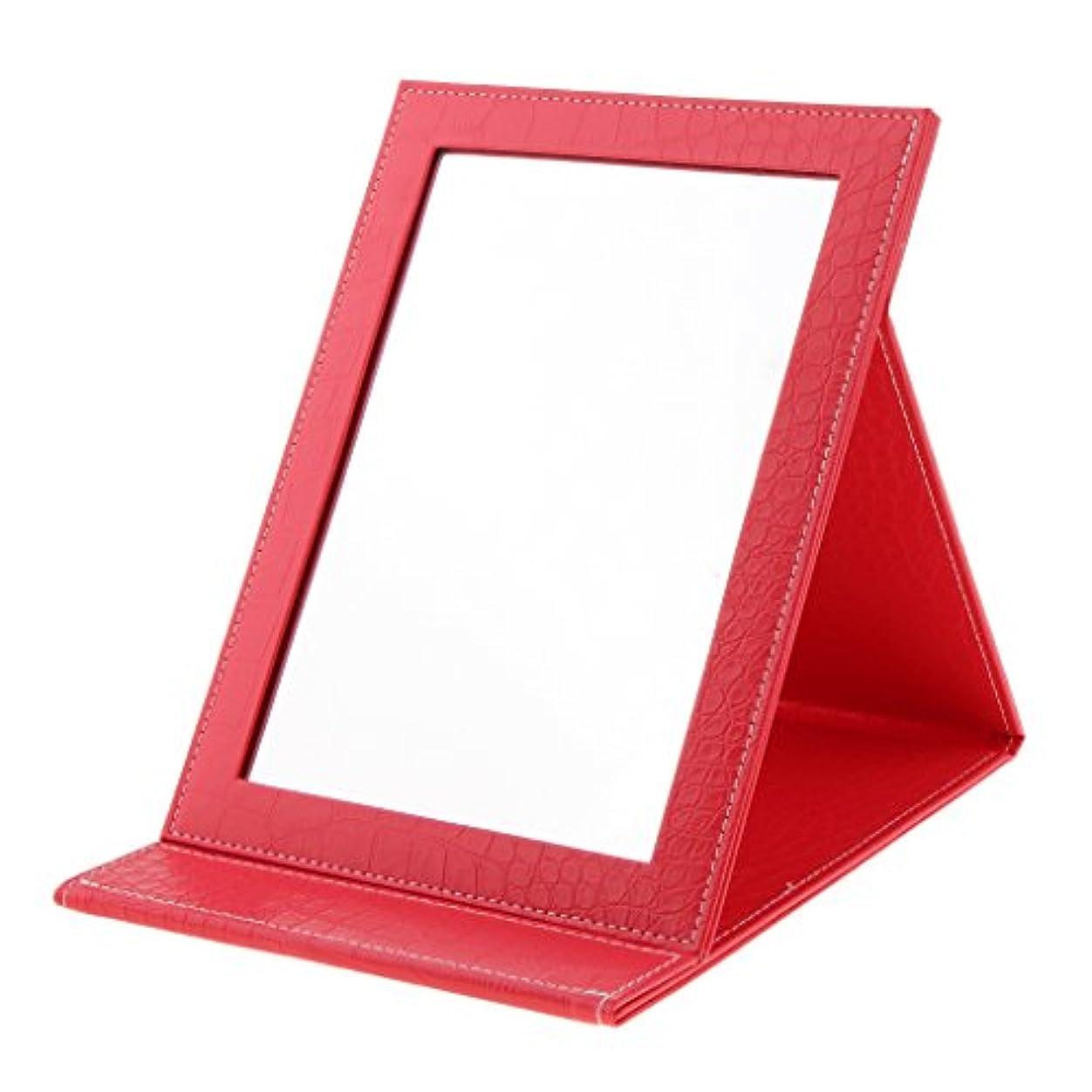 宙返りテンション課す化粧鏡 鏡 メイクアップミラー 折りたたみ式 PUレザー ポータブル 旅行 日常用 3色選べる - 赤