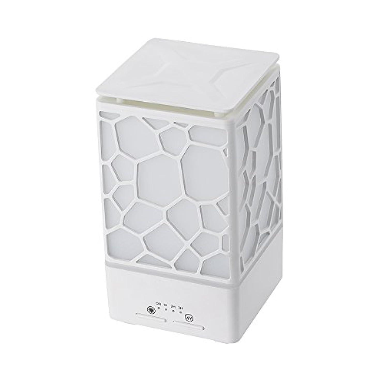 情報演じるシェフ200ミリリットルアロマオイルディフューザー、3つの作業モードでウッドグレインアロマオイルディフューザーウォーターレスオートオフ7色ledライト,White
