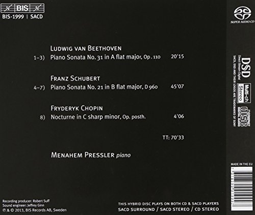 ベートーヴェン : ピアノ・ソナタ 第31番 | シューベルト : ピアノ・ソナタ 第21番 | ショパン : 夜想曲 第20番 (Beethoven | Schubert | Chopin / Menahem Pressler) [輸入盤] - Hybrid SACD
