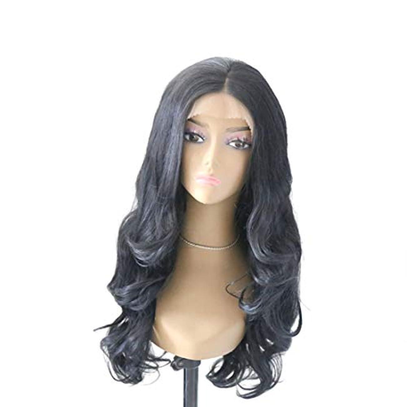 吐き出す契約形Kerwinner 黒かつら女性のための大きな波状の巻き毛のフロントレース化学繊維かつら