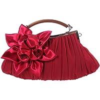 (ファウジーヤ) Fawziya サテン 薔薇 アンティーク風ハンドル クラッチバッグ 結婚式 大きめ パーティーバッグ ローズ