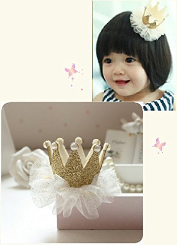 [my fairy baby] お誕生日にも? ハット 風 王冠 ヘアクリップ レース付  女の子 アクセサリー 各色 (ゴールド)
