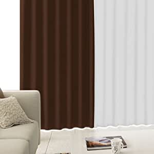 【防寒・高断熱 1級遮光カーテン】 「CALM」 完全遮光生地使用で高断熱、暖房効率アップ!遮音・防音効果で生活音を軽減    カーテン「CALM」と昼夜見えにくいレース計4枚セット   色:ブラウン サイズ:(幅)100×(丈)178cm×4枚(カーテン2枚・レース2枚 計4枚)レース:ホワイト / 丈:厚地より-2cm /フック :(厚地)Bフック (レース)Aフック