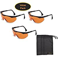 Uvex s1933X Skyper安全眼鏡、ブラックフレーム、sct-orange UV Extreme曇り止めレンズ( 3- Pack ) 3 Pack w/ InPrimeTime Carry Pouches S1933X