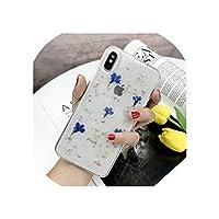 リアルドライフラワーケースfor iPhone 7 8プラスXケースfor iPhone 11プロXR X XS最大8 7 6 s 6プラスケースカバーシリコン電話ケース,for iPhone 6 6S Plus,Royal Blue