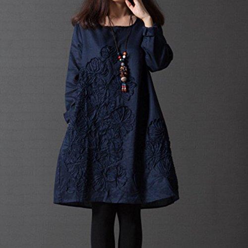 (モノリリ)Monrr レディース 刺繍 ワンピース aライン チュニック シャツ トップス 長袖 青 ファッション ワンピ 七分袖 お呼ばれ 披露宴 パーティ ルームウェア 部屋着 (青 L)